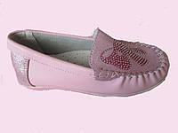 Детские кожаные мокасины (туфли) для девочки, 31, 32