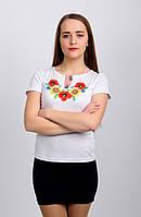 Женская вышитая футболка. Мак и подсолнух