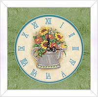 Схема для вышивки бисером Часы-чайничек с цветами