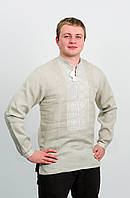 Вышиванка мужская серый лен, белая вышивка, длинный рукав