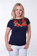 """Женская футболка вышиванка """"Маки 2"""" короткий рукав"""