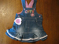 Детский джинсовый  сарафан для маленькой девочки от 9 до18 мес, Турция