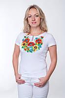"""Женская футболка вышиванка """"Подсолнухи+Маки+Волошки"""" короткий рукав"""