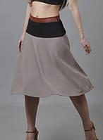Трапецивидная юбка с кожанной оттделкой KR-SS13/09