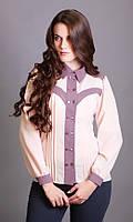 Женская классическая блуза с длинным рукавом лососевого цвета. Модель 505 Mirabelle, коллекция весна-лето 2015