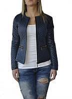 Стеганная женская синяя куртка-шанелька на весну