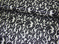 Ткань атлас - гипюр (на белом атласе черный гипюр)