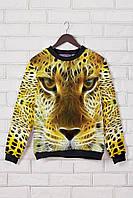 Женский свитшот с принтом Леопард чёрный с жёлтым