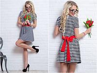 Платье короткое в полоску с красным поясом
