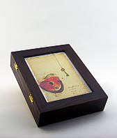 "Настенная ключница ""Сердце и ключ"", размер 21х26 см"