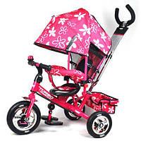 Детский трехколесный велосипед PROFI TURBO М 5361-3-1 (розовый с розовой рамой) резиновые, надувные колёса.