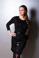 Женское стильное платье с кожаным декором, разные цвета