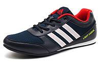 Кроссовки мужские летние Adidas Light Casual, текстиль(сетка)/ кожа, черные/ темно-синие/ красные, фото 1