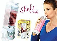 Блендер-шейкер для коктейлей/смузи shake'n take, съёмный стакан с крышкой, трубка для питья, 500 мл
