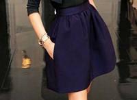Модная женская юбка цвет темно-синий