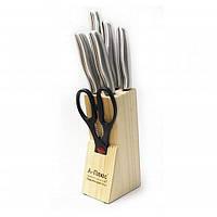 Кухонный комплект ножей с деревянной подставкой а-плюс kf-1006, состоит из 5-ти ножей и ножниц, нержавейка