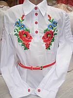 """Блузка - вышиванка  """" Мальва с васильками """" с красным поясом"""