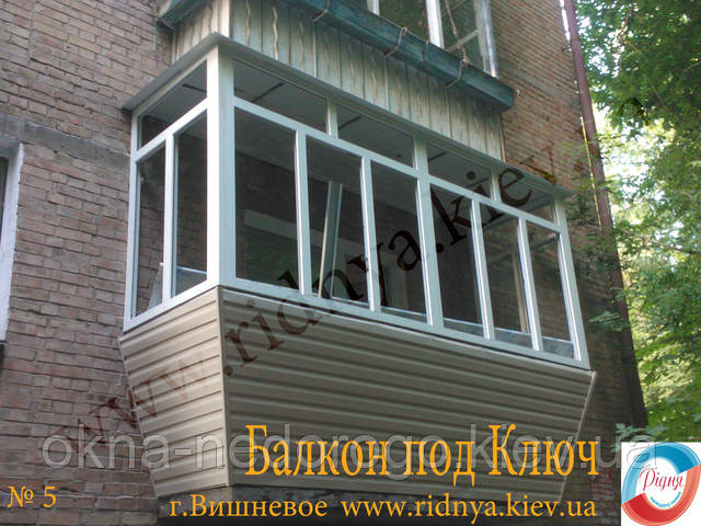 Остекление балконов под ключ недорого в хрущевке.
