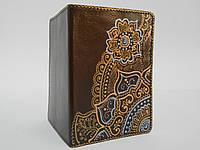 """Обложка для паспорта с ручной росписью, натуральная кожа """"Восход"""""""