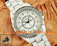 Женские наручные часы Chanel J12 Black Silver White японский механизм модные стильные