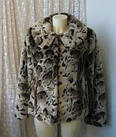 Шуба женская искусственная короткая коричневая бренд Cotton Club р.48