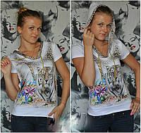 """Стильная молодежная кофта полубатал с капюшоном """"Тигр лилия"""" мод 8320"""