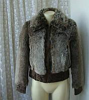 Шуба полушубок куртка с мехом бренд Super Eu р.44