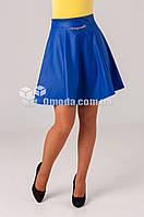 Женская молодежная юбка Риана синего цвета из кожзама