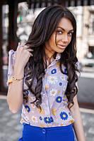 Блузка-рубашка в клетку  и в цветочек  в расцветках 01259