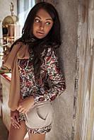 Блузка-рубашка с шифоновым шарфом в трех расцветках 01258