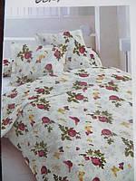 Двуспальное постельное белье Голд с розочками