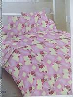 Двуспальное постельное белье Голд на розовом цветочки