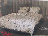 Двуспальное белье ткань Голд - хлопок с синими цветочками