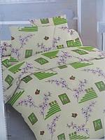 Постельное двуспальное белье Голд с зеленым рисунком