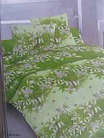 Постельное двуспальное белье ткань Голд - хлопок зеленого цвета
