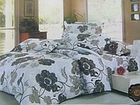 Двуспальное постельное белье евро  коричневые цветы