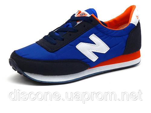 Кроссовки New Balance 410 унисекс текстиль/ нубук, синие/ темно-синие/ оранжевые, р. 37