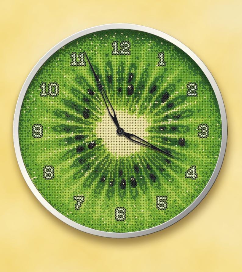 """Часы """"Киви"""", схема вышивки"""