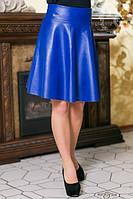 Расклешенная юбка из кожзама