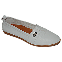 Белые кожаные мокасины