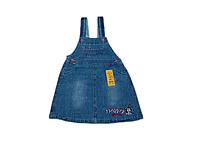 Детский джинсовый сарафан для девочки (синий джинс с потертостями)