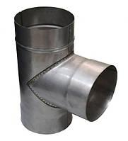 Тройник для дымохода d=160/87° нерж.\жар. 0.8мм