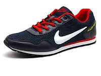 Кроссовки мужские летние Nike Power Design, текстиль(сетка)/ кожа, темно-синие/ красные, фото 1