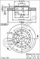 Диск тормозной передний Ланос (вентилируемый) BREMBO