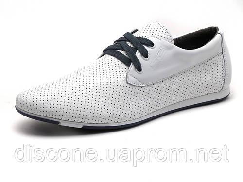 Мужские спортивные туфли GS-comfort, кожаные,перфорированные, белые