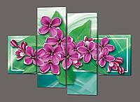 Панно из четырех частей Цветы 120*93 см  Код: 222.4k.120