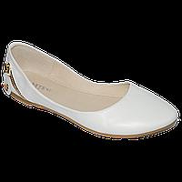 Белые кожаные балетки с молнией на пятке