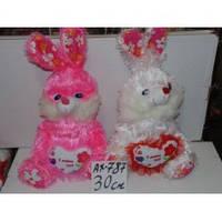 Заяц плюшевый(белый,розовый)