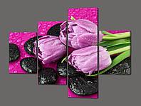 Модульная картина Нежные тюльпаны на камнях 120*96,5 см Код: 480.4к.120