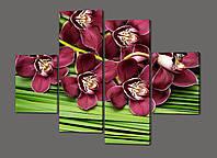 Модульная картина Бордовые орхидеи на зеленом фоне 120*93 см  Код: 469.4к.120